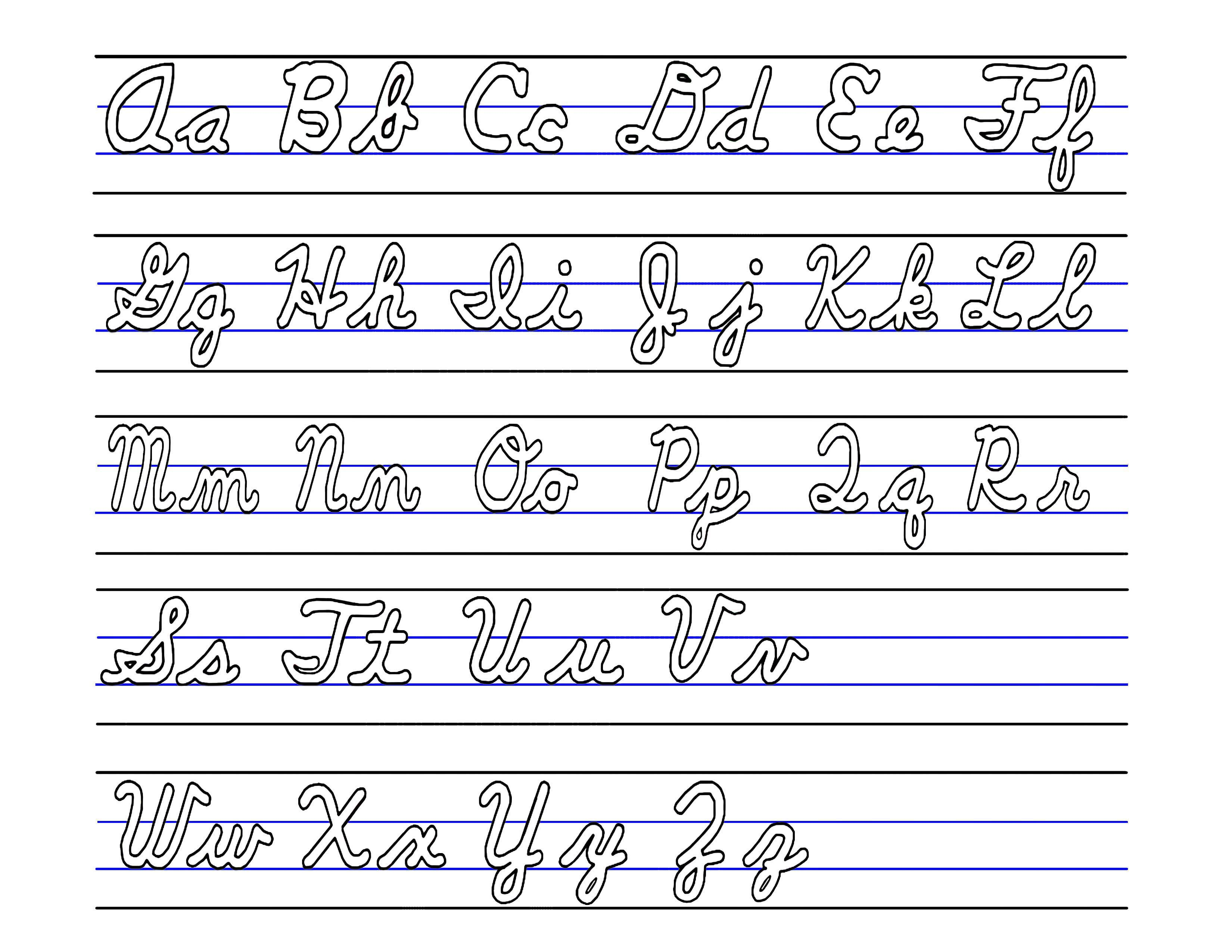It is a graphic of Satisfactory Cursive Letters Printable